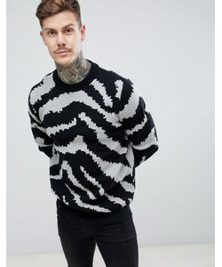 8a94b5713a96c boohooMAN - Sweater In Animal Print