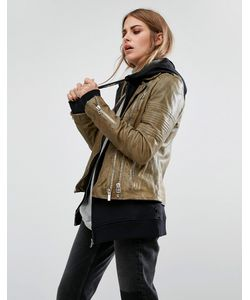 Goosecraft | Vintage Look Leather Biker Jacket