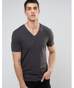CELIO | V-Neck T-Shirt In Slim Fit Anthracite