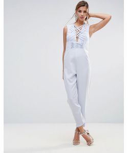 ASOS | Jumpsuit In Satin With Strapping Corset Bodice