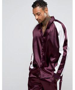 ASOS | Satin Pyjama Top With Cut Sew Burgundy