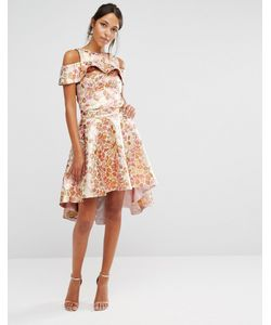 Chi Chi London | Chi Chi High Low Skirt Co-Ord In Rose Jacquard