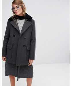 Gloverall | Reefer Coat With Detachable Shearling Collar
