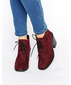 London Rebel   Lace Up Mid Heel Boots Burgundy