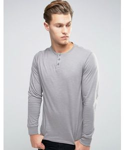 Threadbare | Cotton Slub Long Sleeve T-Shirt With Grandad Collar