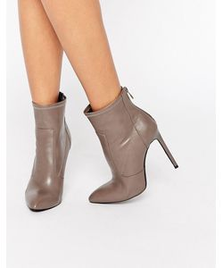 Public Desire | Maddie Heeled Ankle Boots Taupe Pu