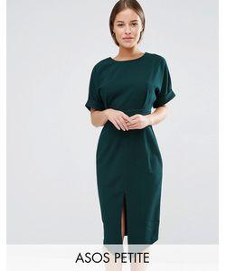 ASOS Petite   Wiggle Dress With Split Front Dark