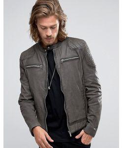 Goosecraft   Leather Biker Jacket Quilt Shoulder In Charcoal Charcoal
