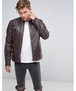 Goosecraft | Leather Zip Biker Jacket In Coffee Bean
