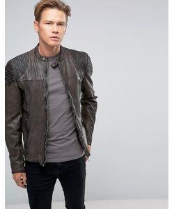Goosecraft | Leather Biker Jacket Seam Shoulder In Charcoal Charcoal