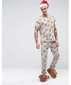 ASOS | Christmas Pyjama Set With Turkey Print Flat Grey