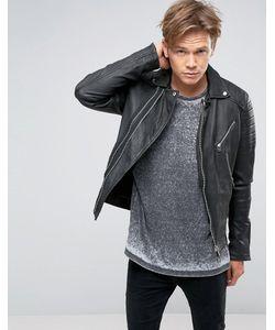 Goosecraft | Leather Biker Jacket Asymmetric Double Zip In