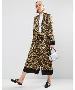 ASOS | Floral Pyjama Culotte Trousers With Contrast Hem Floral