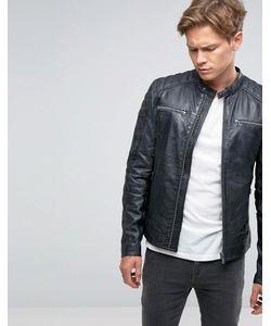 Goosecraft | Leather Zip Biker Jacket In