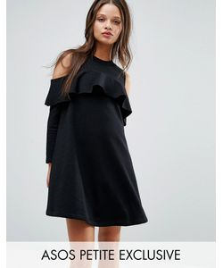 ASOS Petite   Cold Shoulder Sweat Dress With Ruffle