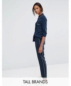 Vero Moda Tall | Piped Pyjama Style Trousers Black Iris