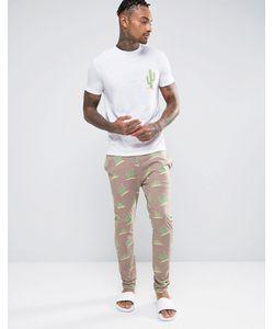 ASOS | Pyjama Set With Cactus Print Beige