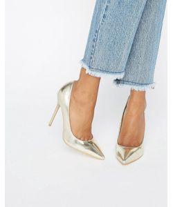 Public Desire   Josie Gold Court Shoes Gold