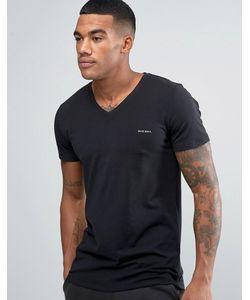 Diesel | Logo V Neck T-Shirt In Stretch Cotton