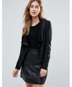 Muubaa | High Neck Wrap Over Leather Jacket