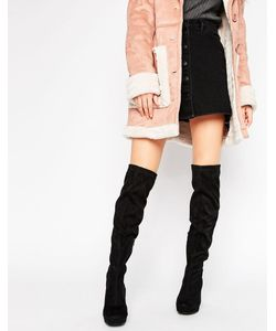 Truffle Collection | Truffle Over The Knee Platform Heel Boot Micro