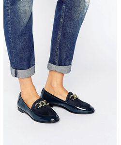 London Rebel | Flat Chain Loafer Shoe Navy Patent/Micro
