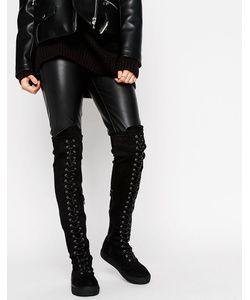 Truffle Collection | Flat Over Knee Lace Up Boot Stretch