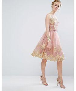 Chi Chi London | Premium Lace Midi Skirt With Premium Metallic Embroidery