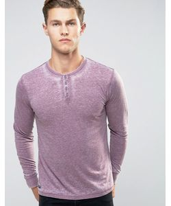Threadbare | Burnout Wash Long Sleeve T-Shirt With Grandad Collar