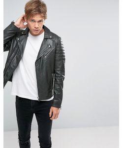 Goosecraft | Leather Biker Jacket Asymmetric Zip In Leaf