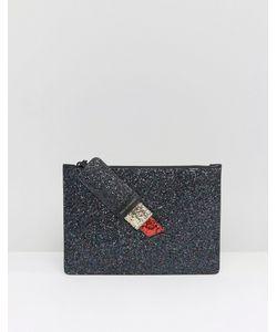 Lulu Guinness   Glitter Grace Clutch Bag In Red Lipstick /Red
