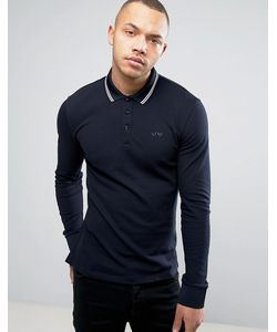Armani Jeans | Long Sleeve Pique Polo Slim Fit Tipped In