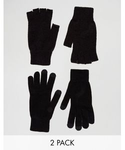 ASOS | 2 Pack Fingerless And Touchscreen Gloves In Save