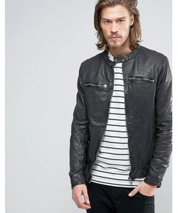 Goosecraft | Leather Biker Jacket With Front Zip Detail