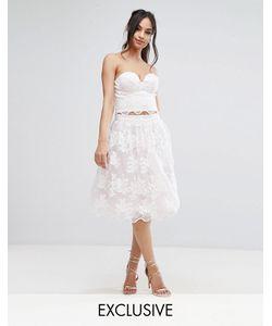 Chi Chi London | Lace Midi Prom Skirt With Scalloped Hem Co