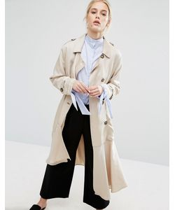 Zacro | Belted Trench Coat With Asymmetric Hem