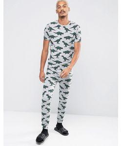 ASOS | Super Skinny Pyjama Bottoms With Dinosaur Print Marl