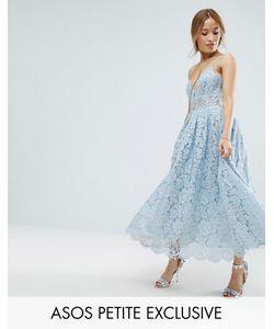 ASOS Petite   Lace Cami Midi Prom Dress