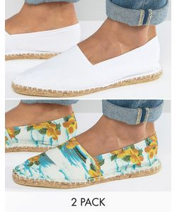 ASOS | Festival Canvas Espadrilles In And Hawaiian 2 Pack