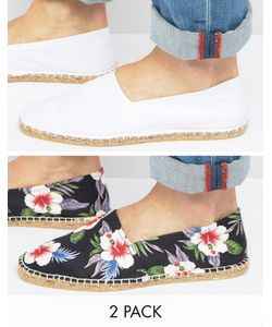 ASOS | 2 Pack Espadrilles With Plain And Save