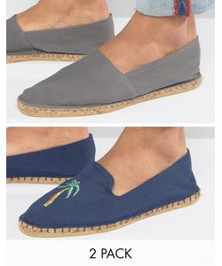 ASOS | Festival 2 Pack Espadrilles In Navy And With Palm