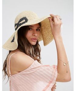 ASOS | Oversized Straw Floppy Hat With Bow Design