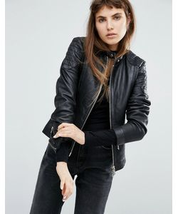 Goosecraft | Collarless Leather Jacket With Quilted Detail