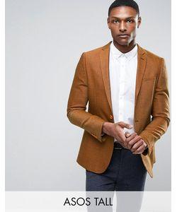 ASOS   Tall Skinny Texture Blazer In Tan Wool Mix