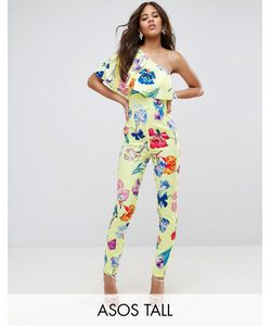 ASOS Tall | One Shoulder Ruffle Jumpsuit In Print