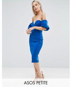 ASOS Petite   Scuba Puff Sleeve Bardot Midi Dress