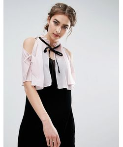 ASOS   Cold Shoulder Cape With Bow Tie Detail