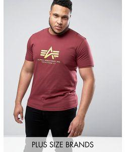 Alpha Industries   Plus Logo T-Shirt Regular Fit In Burgundy