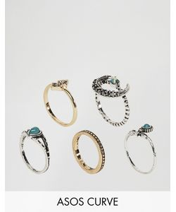 ASOS Curve | Jewel Horn Ring Pack