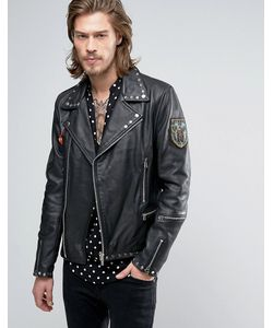 Goosecraft | Studded Leather Biker With Patches